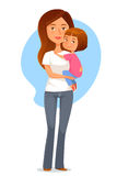 Illustration of a young mother holding her daughte Royalty Free Stock Photos