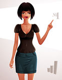 Illustration of a young pretty woman. Full body portrait of a co. Quette lady, tanned girl pointing at something to side with her finger. Number one concept Stock Image