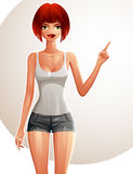 Illustration of a young pretty woman in a sportswear with a mode Stock Photos