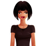 Illustration of a young pretty woman with a stylish haircut. Col Royalty Free Stock Photography