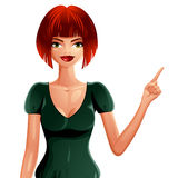 Illustration of young pretty woman with a stylish haircut. Color. Ful vector drawing of red-haired lady, Caucasian girl pointing at something to side with her Stock Photos