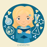 Illustration of young schoolgirl chemistry Royalty Free Stock Image