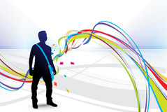 Illustration young student silhouetted stock illustration
