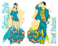 Illustration of a young stylish girl and guy. EPS10 vector illustration of a young stylish girl and guy Stock Image