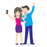 Illustration of a young tourist couple using a smart phone to take a selfie picture of themselves on white background Royalty Free Stock Photo