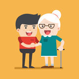 Illustration of young volunteer man caring for elderly woman. Man helping and supporting old aged female. Vector flat design. Social concept caring for seniors Royalty Free Stock Image