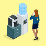 Illustration with young woman with coffee cup, coffee machine and Water cooler. Flat 3d vector isometric concept. Stock Image
