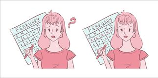 Illustration of young woman confused and happy with her periods. Illustration of young woman shown confused about her irregular periods and happy with her royalty free illustration