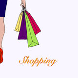 Illustration of young woman go shopping Stock Photography
