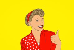 Free Illustration Young Woman Pretty Pinup Girl Red Button Shirt With White Polka Dots Giving Thumbs Up Sign Gesture Looking At You Stock Images - 178612944