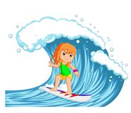Young woman surfing with big wave stock illustration