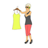 Illustration of a young women on shopping Stock Photo