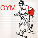 Illustration of young women on stationary bikes exercising in th Royalty Free Stock Photo