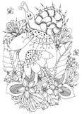 Illustration Zen Tangle Snail de vecteur sur des fleurs Dessin de griffonnage Anti effort de livre de coloriage pour des adultes  Photographie stock