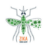 Illustration of zika virus transmission by aedes mosquito. Vector design concept for zika virus outbreak. Stock Images