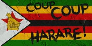 Illustration of Zimbabwe Flag and graffiti on wall. royalty free stock photos