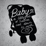 Illustration zitiert auf Kinderwagen, Wagen, Pramschattenbild Stockbilder