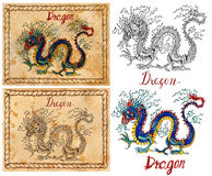Illustration with zodiac animal - Dragon Royalty Free Stock Photography