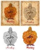 Illustration with zodiac animal - Monkey Royalty Free Stock Photography