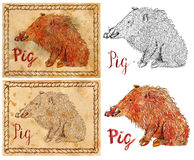 Illustration with zodiac animal - Pig or Boar Stock Photos