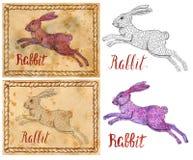Illustration with zodiac animal - Rabbit Stock Photos