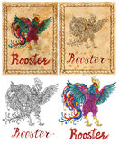Illustration with zodiac animal - Rooster Royalty Free Stock Photos