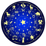 Illustration of a zodiac disc. Illustration of a blue zodiac disc vector illustration