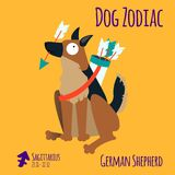 Illustration of a zodiac sign with a funny dog. German Shepherd Sagittarius.  Stock Image