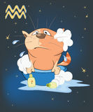 Illustration of a Zodiac Signs Aquarius. Cartoon Character Stock Image
