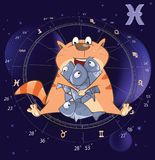 Illustration of a Zodiac Signs Pisces. Cartoon Character Stock Photos