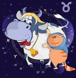 Illustration of a Zodiac Signs Taurus. Cartoon Character Royalty Free Stock Images