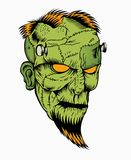Illustration of zombie head. With a beard Royalty Free Stock Photos