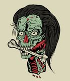Illustration zombie head with a bone Stock Photography