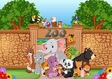 Zoo and animals in a beautiful nature. Illustration of zoo and animals in a beautiful nature stock illustration