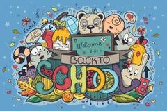 Illustration zurück zu der gefärbten Schule kritzelt auf einem blauen Hintergrund Stockfotos