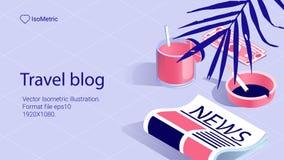 Illustrationarbetstabel, loppbloger, baneruppsättning royaltyfri fotografi