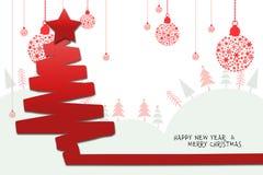 Illustrationbakgrund, julkort med filialer av julgranen och bollar Royaltyfria Foton