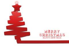 Illustrationbakgrund, kort för lyckligt nytt år för jul med filialer av julgranvitbakgrund Arkivfoton
