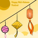 Illustrationbakgrundslykta av den lyckliga mitt- höstfestivalen royaltyfri illustrationer