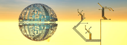 illustrationbegrepp av elektroniska strömkretsar vektor illustrationer