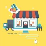 Illustrationbegreppet av direktanslutet shoppar Royaltyfri Fotografi