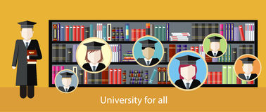Illustrationbilder som studerar på universitetet Royaltyfri Foto