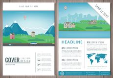 City brochure with suburban landscape. Template of magazine, poster, book cover, banner, flyer. Building architecture Royalty Free Stock Photo