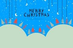 Illustrationdesign för glad jul med stjärnor och månen landskapbakgrund, snö, banerdesign Arkivfoto