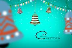 Illustrationdesignen för glad jul med ljus- och klockabanret planlägger Arkivbilder
