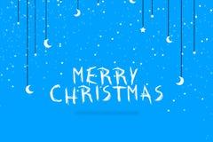 Illustrationdesignen för glad jul med stjärna- och månebanret planlägger Royaltyfri Foto