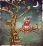 Illustrationen av äldre personsammanträde på ett träd och läser en bo vektor illustrationer