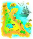 Illustrationen av översikten med den mystiska ön för fantasin och piratkopierar skatten royaltyfri illustrationer