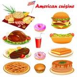 Illustrationen av amerikansk kokkonst med biff, kalkon, punkake, gör royaltyfri illustrationer