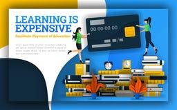 Illustrationen av att lära är dyr studenter som rymmer kreditkortar på högar av böcker avgifter för allmän utbildning, universite vektor illustrationer